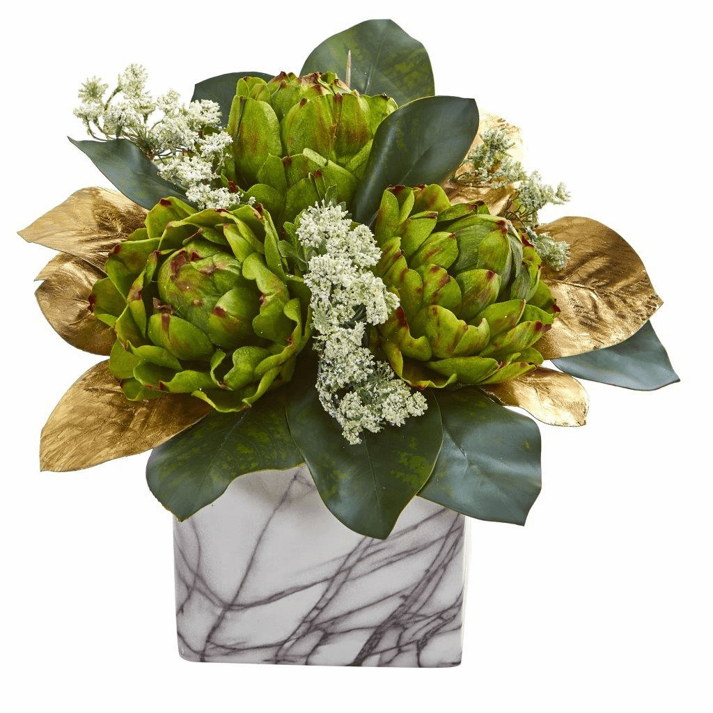 "13"" Golden Magnolias & Artichokes Artificial Arrangement in Marble Finished Planter"