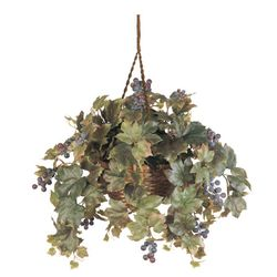 "22"" Grape Leaf Hanging Basket Silk Plant"