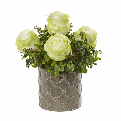 "Green 11"" Roses and Eucalyptus Artificial Arrangement in Designer Vase"