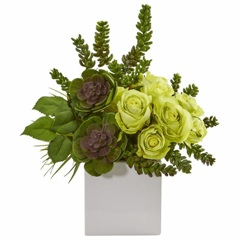 "14"" Green Rose & Succulent Artificial Arrangement in White Vase"