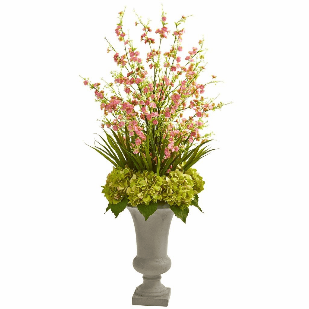 "42"" Green Cherry Blossom & Hydrangeas Artificial Arrangement in Urn"