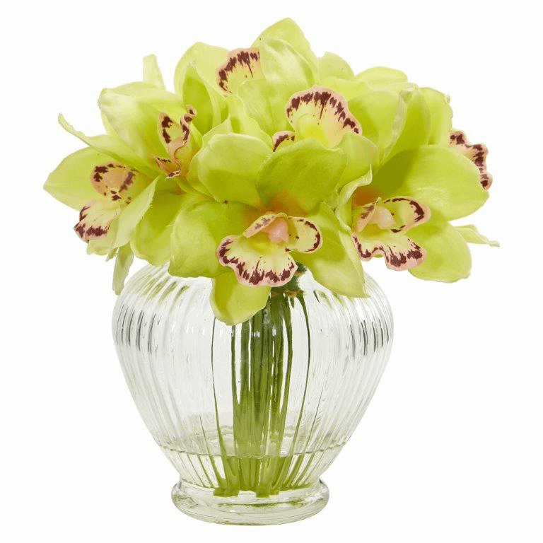 "9"" Green Cymbidium Orchid Artificial Arrangement in Glass Vase"