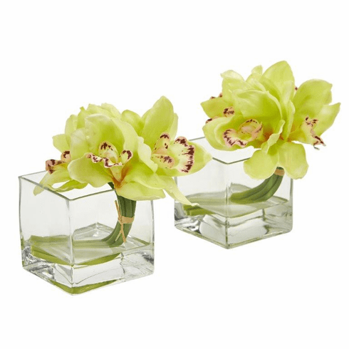 Green Cymbidium Orchid Artificial Arrangement in Glass Vase (Set of 2)