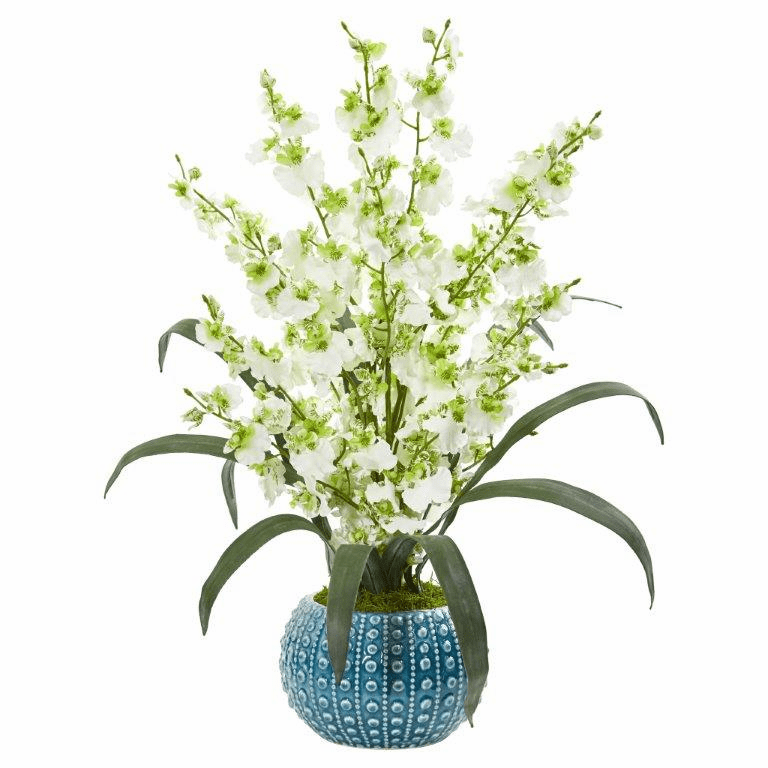 "20"" Green Dancing Lady Orchid Artificial Arrangement in Blue Vase"