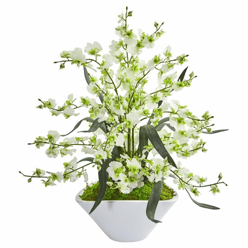 "21"" Green Dancing Lady Orchid Artificial Arrangement in White Vase"