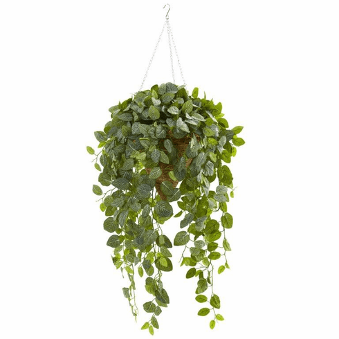 4.5' Green Fittonia Artificial Plant in Hanging Cone Basket (Real Touch)