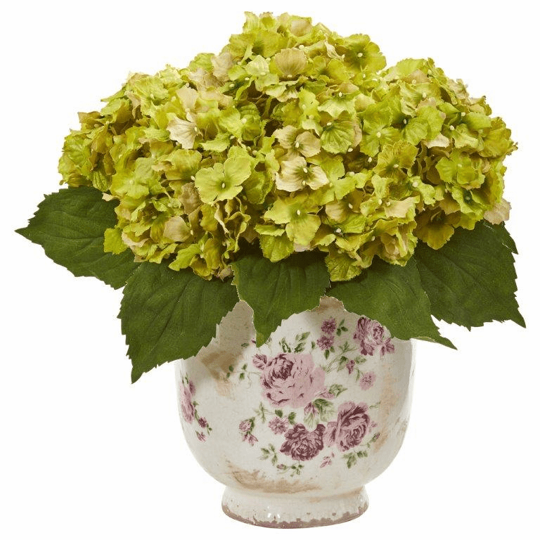 "14"" Green Giant Hydrangea Artificial Arrangement in Floral Printed Vase"