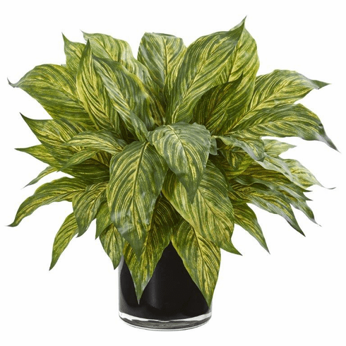 """17"""" Green Musa Leaf Artificial Plant in Glossy Black Vase"""