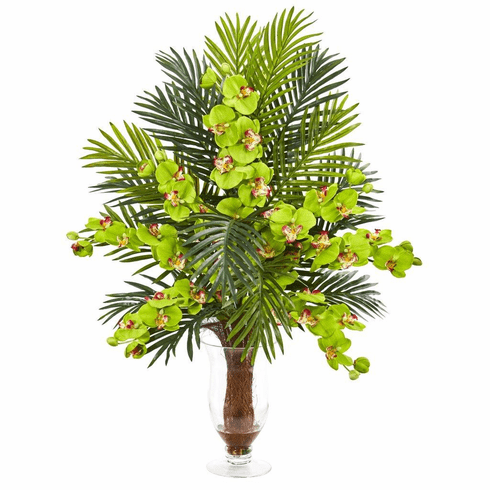 """30"""" Green Phalaenopsis Orchid and Areca Palm Artificial Arrangement"""