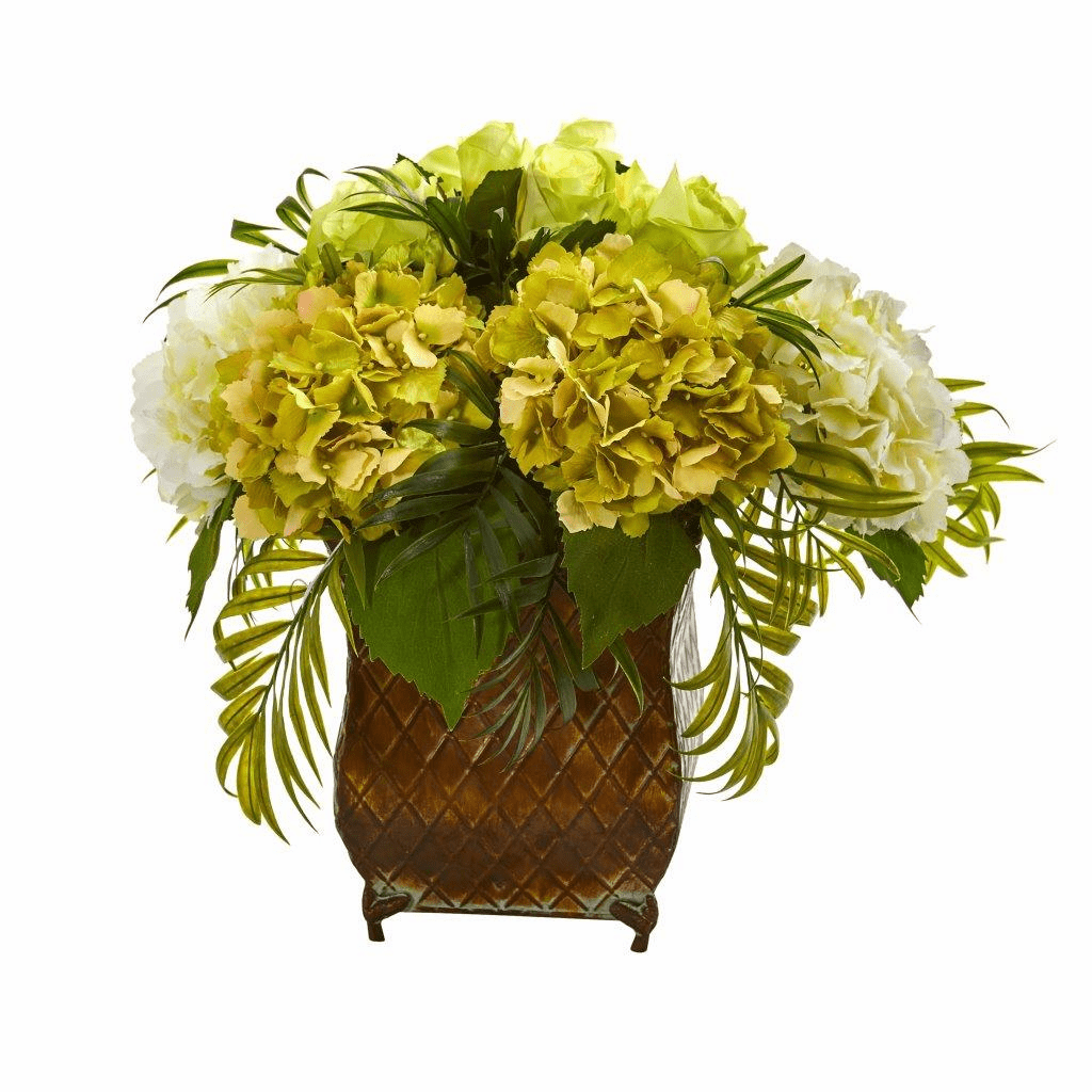 "15"" Green Roses and Hydrangea Artificial Arrangement in Metal Planter"