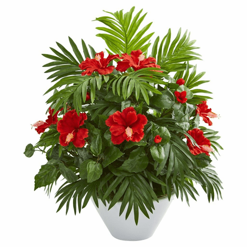"""27"""" Hibiscus and Areca Palm Artificial Plant in White Bowl"""
