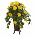 Hibiscus Artificial Plant in Stand Planter - N/A