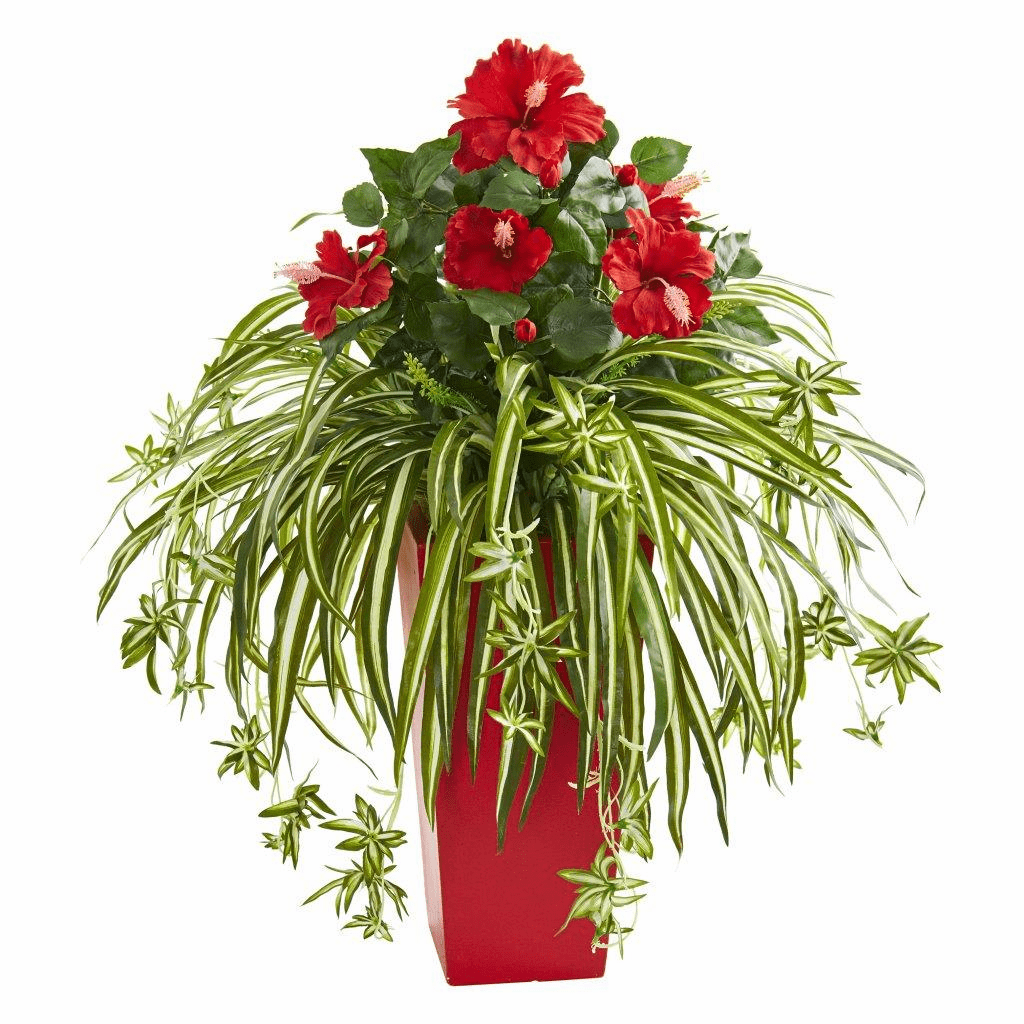 "28"" Hibiscus & Spider Artificial Plant in Red Planter"