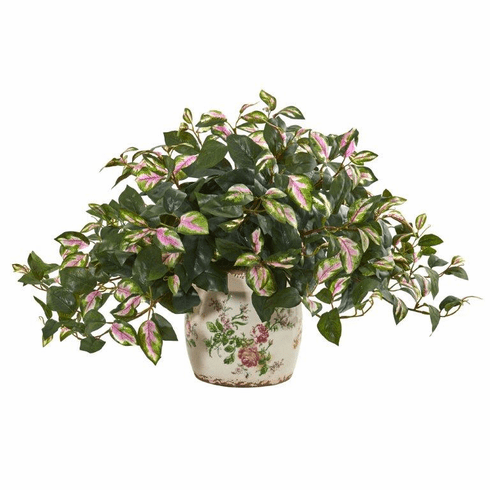 Hoya Artificial Plant in Floral Print Planter