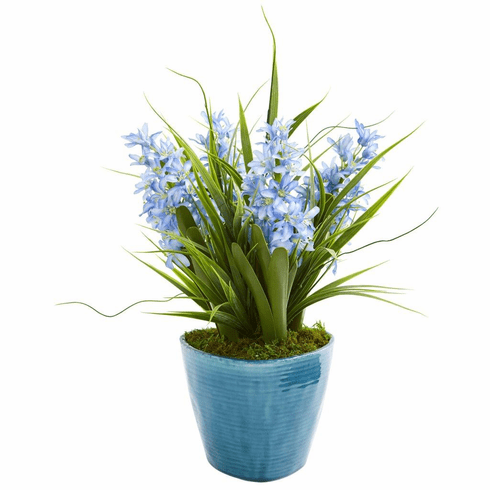"18"" Hyacinth Artificial Plant in Blue Vase"