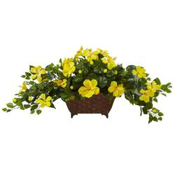 "17"" Artificial Hybiscus Flower Arrangement in Metal Planter - Yellow"