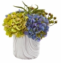 Hydrangea and Berries Artificial Arrangement in Marble Finished Vase - Blue