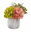 Hydrangea and Berries Artificial Arrangement in Marble Finished Vase - Pink