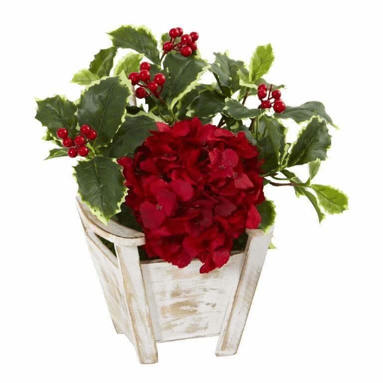 Hydrangea and Holly Leaf Artificial Arrangement in Chair Planter -