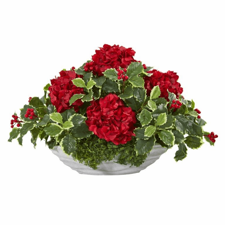 """15"""" Hydrangea and Holly Leaf Artificial Arrangement in Decorative Vase"""