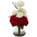 "19"" Silk Hydrangea Flower and Mum Arrangement in Vase - Red/White"