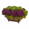 "12"" Hydrangea & Artichokes Artificial Arrangement in Metal Planter"