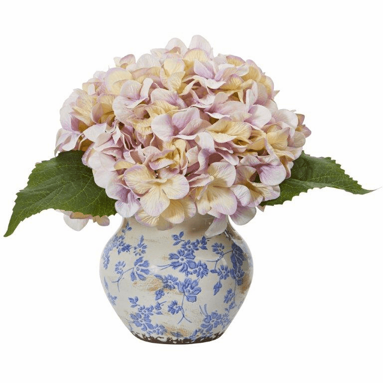 "13"" Hydrangea Artificial Arrangement in Floral Vase - Lavender"
