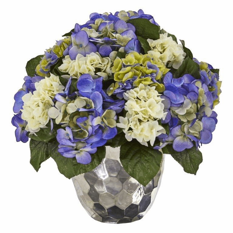 "15"" Hydrangea Artificial Arrangement in Silver Vase - Blue Purple"