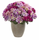 Hydrangea Artificial Plant in Sand Colored Planter - Beauty