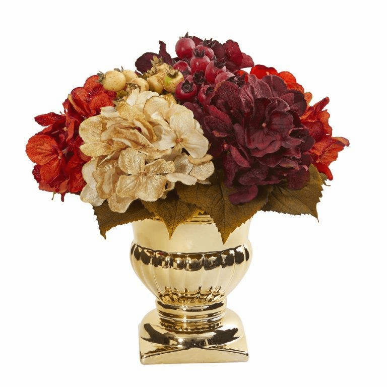 "12"" Hydrangea Berry Artificial Arrangement in Gold Urn"