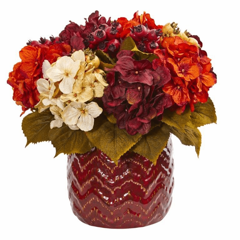 "14"" Hydrangea Berry Artificial Arrangement in Red Vase"