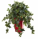 "30"" Ivy Artificial Plant in Red Planter"