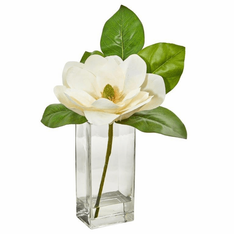 "17"" Large Magnolia Artificial Arrangement in Glass Vase"