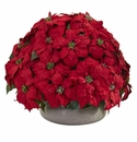 Large Poinsettia Artificial Plant in Stone Planter - N/A