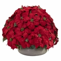 "24"" Large Poinsettia Artificial Plant in Stone Planter"