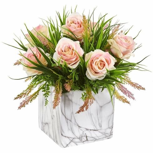"14"" Light Pink Roses & Grass Artificial Arrangement in Marble Finished Vase"