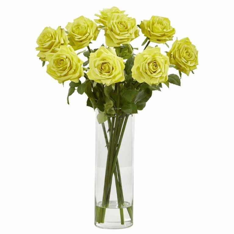 Light Yellow Rose Artificial Arrangement in Cylinder Vase