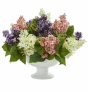Lilac Artificial Arrangement in White Vase - Assorted