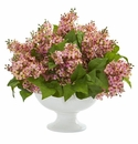 Lilac Artificial Arrangement in White Vase - Pink