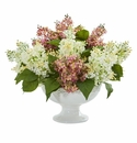 Lilac Artificial Arrangement in White Vase - White Pink