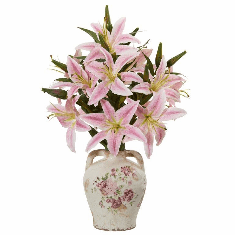 "19"" Lily Artificial Arrangement in Floral Jar - Pink"