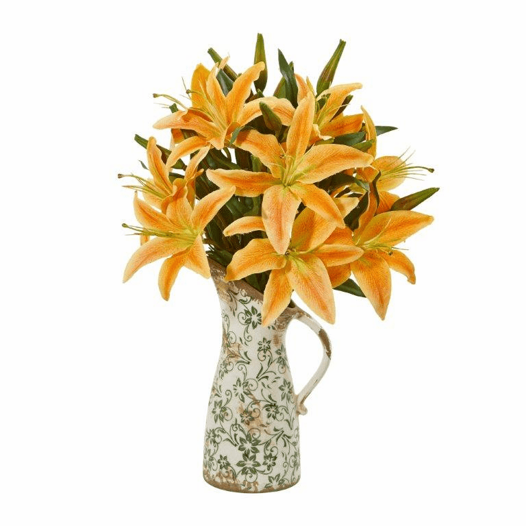 "21"" Lily Artificial Arrangement in Floral Pitcher - Orange"
