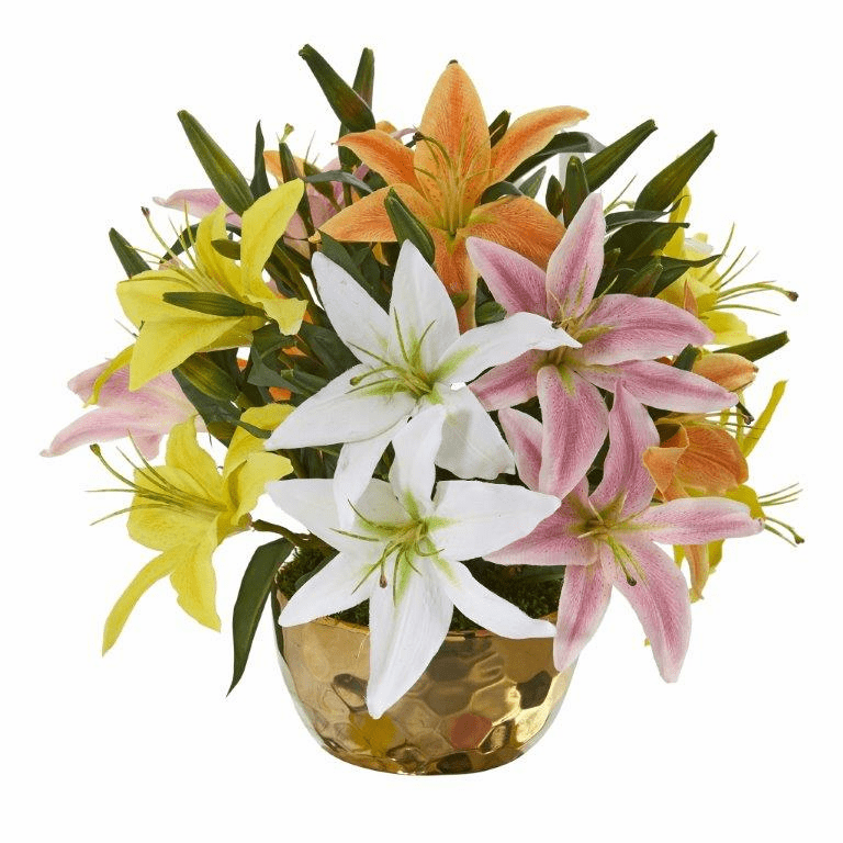 "14"" Lily Artificial Arrangement in Gold Vase - Assorted"
