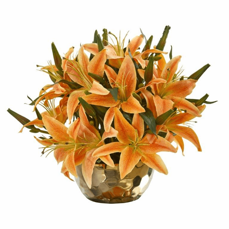 "14"" Lily Artificial Arrangement in Gold Vase - Orange"