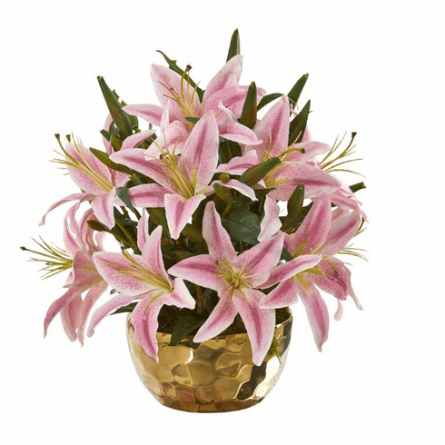 "14"" Lily Artificial Arrangement in Gold Vase - Pink"