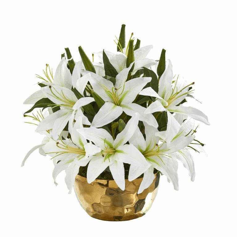 "14"" Lily Artificial Arrangement in Gold Vase - White"