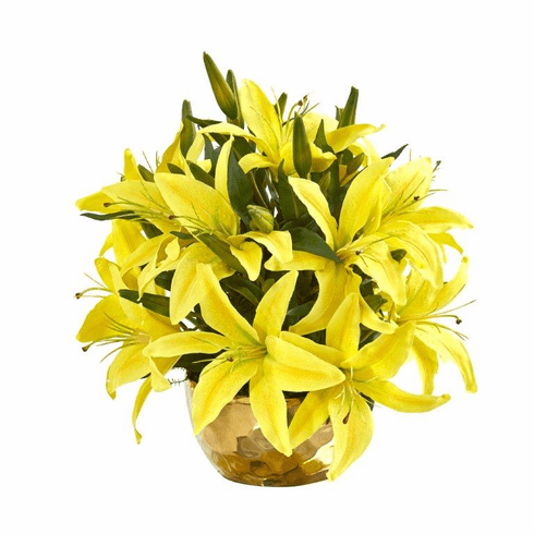 """14"""" Lily Artificial Arrangement in Gold Vase - Yellow"""