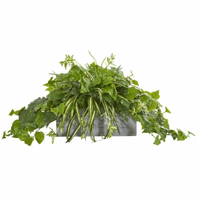 "21"" London Ivy and Spider Artificial Plant in Stone Planter"