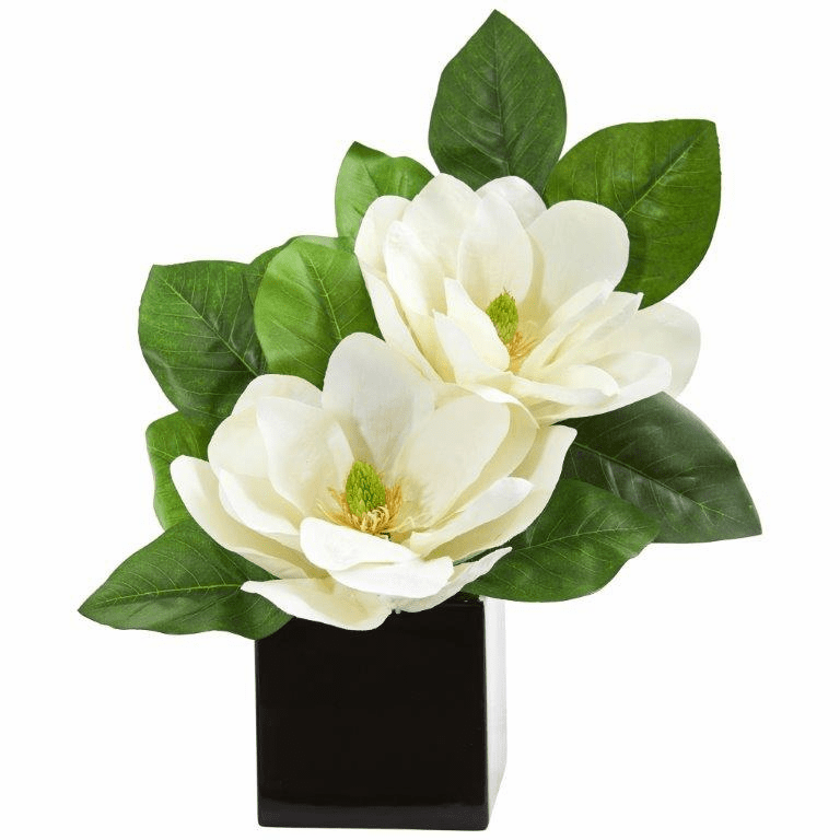 "17"" Magnolia Artificial Arrangement in Black Vase"
