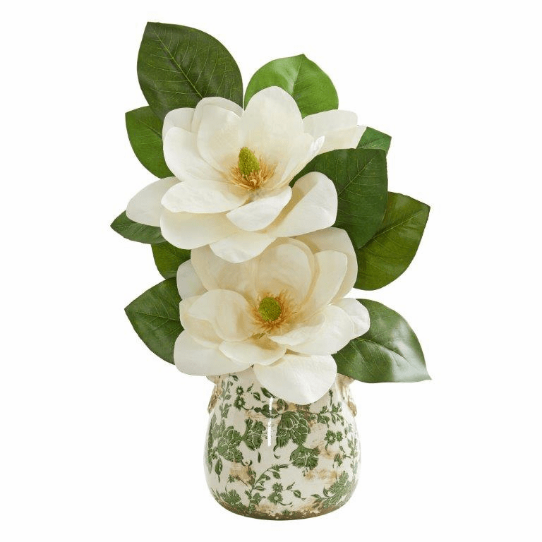 "15"" Magnolia Artificial Arrangement in Floral Design Vase"